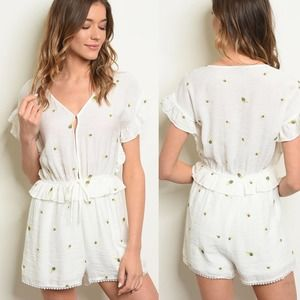 NWT Very J White Palm Embroidered Ruffle Romper